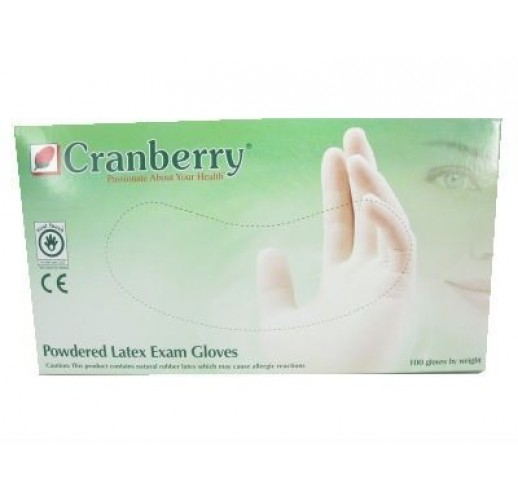 Cranberry Latex Powdered Examination Gloves (XS/S/M/L)
